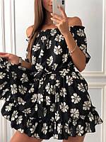 Короткое красивое платье с цветочным принтом и оборками внизу, фото 1