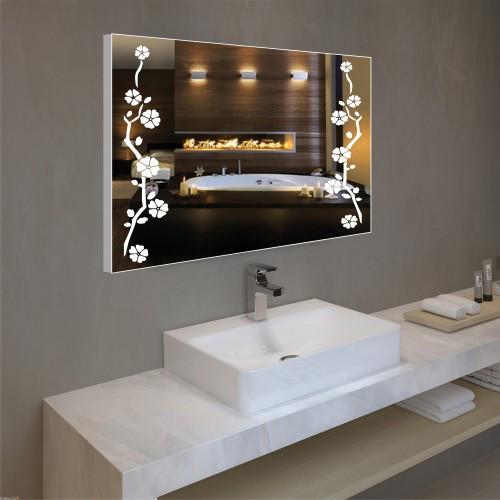 Зеркало с узором в алюминиевой рамке, LED 60х80 см, фото 1