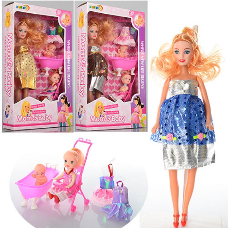 Лялька 2914 донька, вбрання, пупс, коляска, ванночка, 2 кольори, в коробці, 33-19-6 см