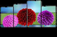 Модульная картина Яркие цветы на голубом фоне