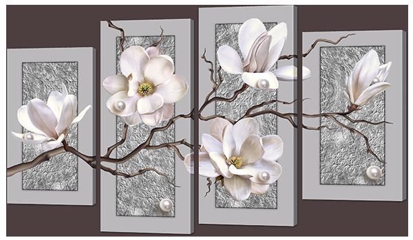 Модульная картина Цветы на сером фоне