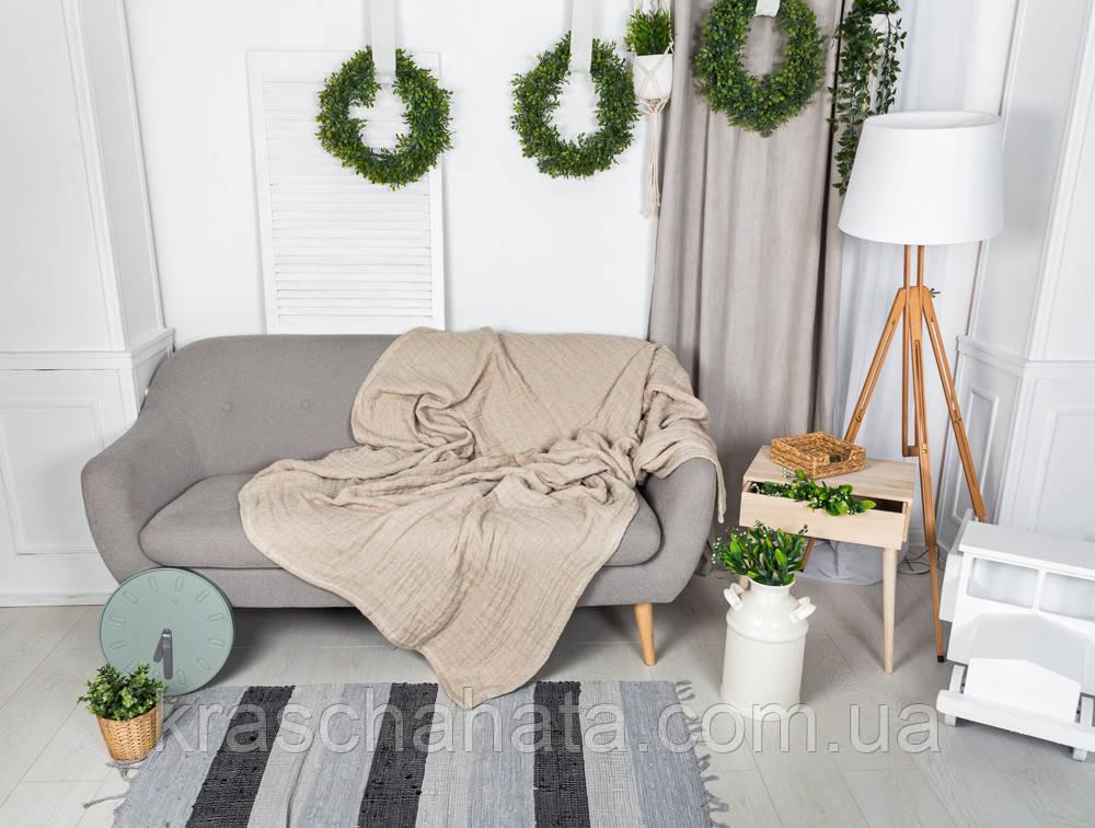 Покрывало Льняное, 220х240 см, текстиль для дома, покрывала, премиум текстиль