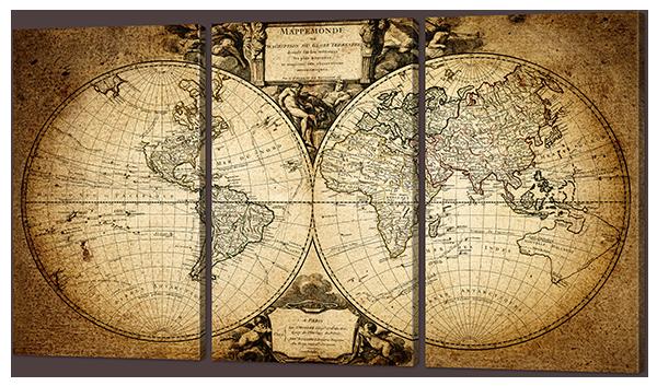 Модульная картина Карта нашей планеты