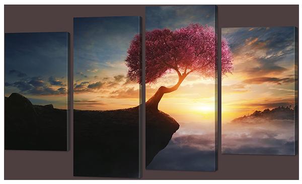 Модульная картина Цветущая сакура на закате