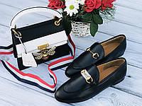 Модные кожаные лоферы Gucci с пряжкой-трензелем (реплика), фото 1