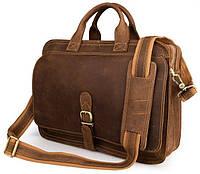 Стильная горизонтальная мужская сумка портфель из натуральной кожи в винтажном стиле Vintage 14081