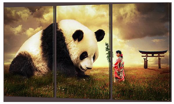 Модульная картина Девочка и панда