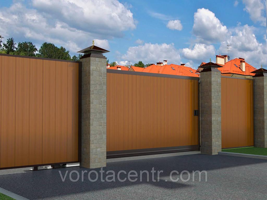 Відкатні вуличні ворота DoorHan в алюмінієвій рамі з заповненням сендвіч-панелями SLG-A