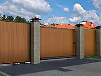 Відкатні вуличні ворота DoorHan в алюмінієвій рамі з заповненням сендвіч-панелями SLG-A, фото 1