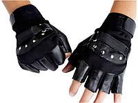 Мужские перчатки без пальцев GLV-0020, спортивные велоперчатки  Черный