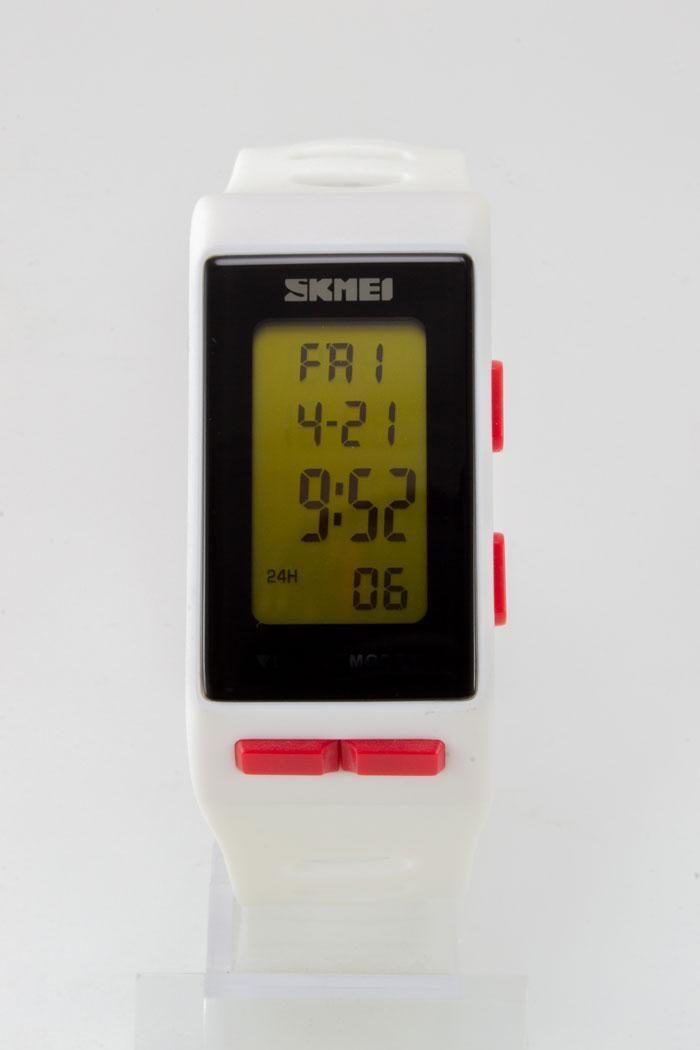 Наручные водонепроницаемые часы SKMEI (Скмеи), цвет корпуса и ремешка белый ( код: IBW128O )