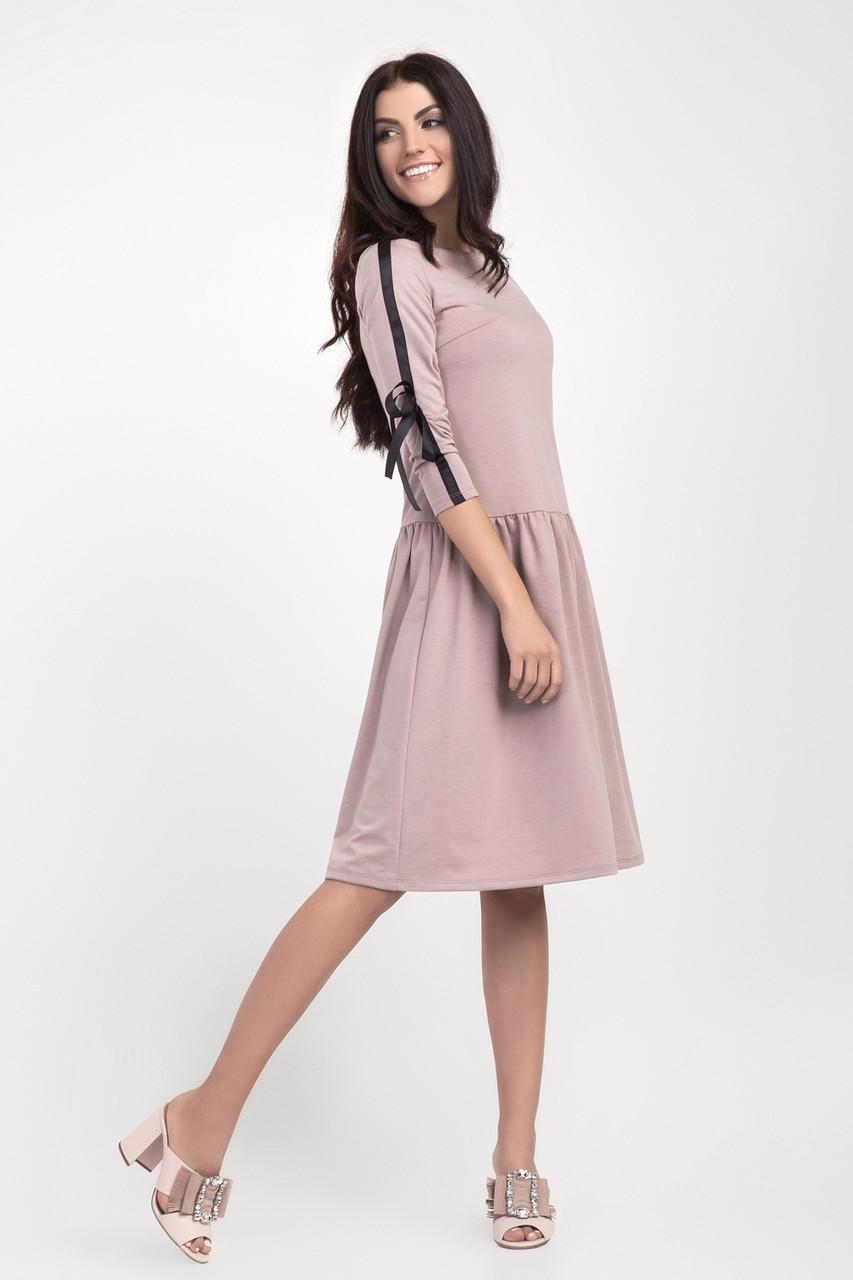 22547f652c7 Стильное женское платье с заниженной талией и рукавом три четверти ...