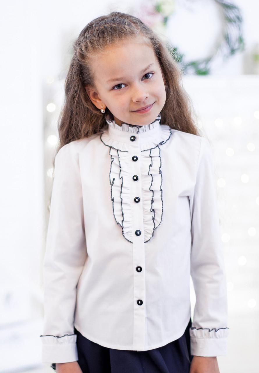 Школьная блузка со стойкой мод. 5021 белая