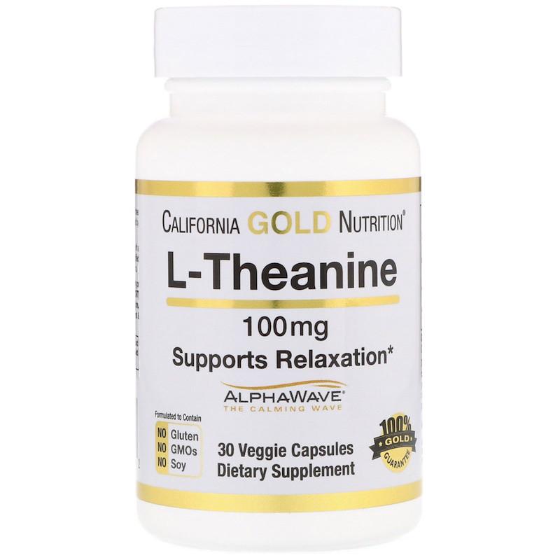 California Gold Nutrition, L-теанин, AlphaWave, способствует расслаблению, успокоению и концентрации, 100 мг, 30 вегетарианских капсул