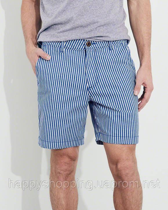 """Мужские синие шорты в полоску """"beach prep fit"""" Hollister"""
