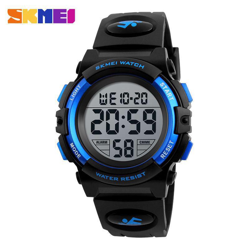 Спортивные водонепроницаемые часы Skmei (Скмеи), черный с синим корпус ( код: IBW130BZ )