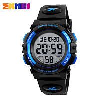 Спортивные водонепроницаемые часы Skmei (Скмеи), черный с синим корпус ( код: IBW130BZ ), фото 1