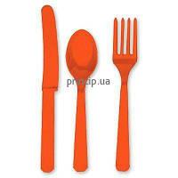 Приборы столовые оранжевого цвета пластиковые (24шт.) 1502-1080