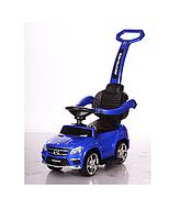 Бесплатная доставка. Детская машинка каталка-толокар Mercedes SX1578-9 синий, кож сиденье, EVA колеса, MP3