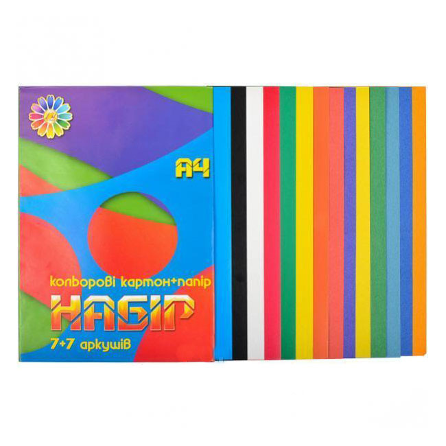 Набор цветного картона и бумаги Тетрада А4 14 листов 7 цветов