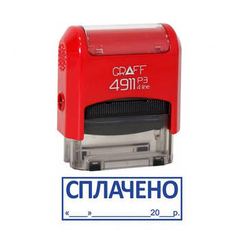 "Штамп ""СПЛАЧЕНО"" с датой  (38*14 мм) GRM, Graff 4911"