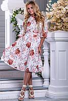Красивое Яркое Платье на Лето с Цветами Белое М-2XL, фото 1