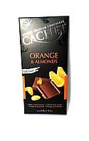 Черный шоколад 57% какао Cachet 100гр (Бельгия) Orange&Almonds (с апельсином и минделем)