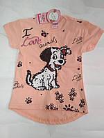 Модный реглан-футболка паетки  Долматинец для девочки 4-5 лет, фото 1