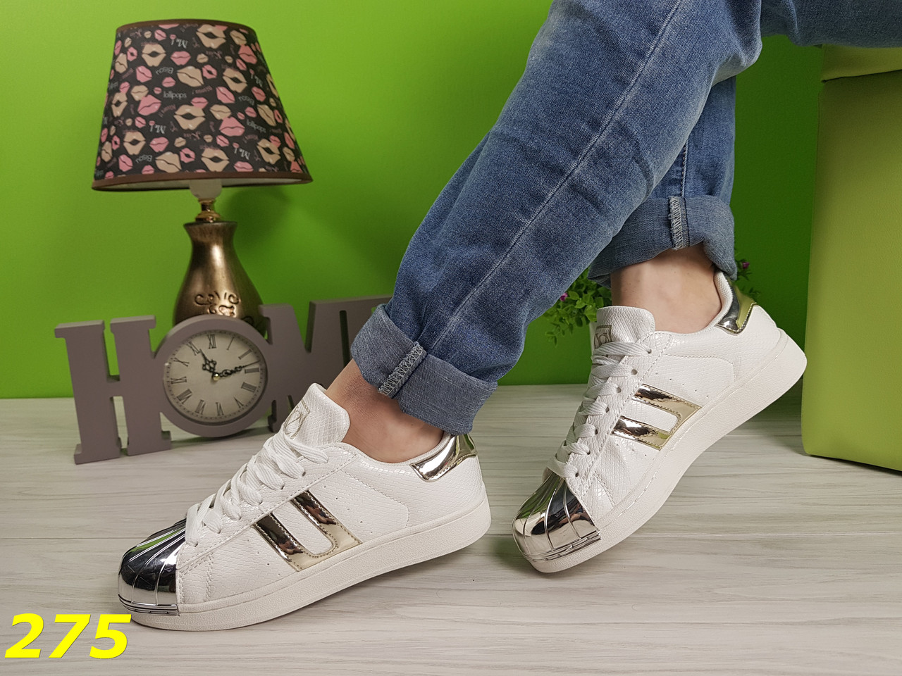 Кроссовки SuperStar белые с золотом
