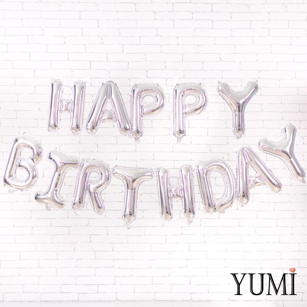 Гирлянда Happy birthday cеребряные буквы