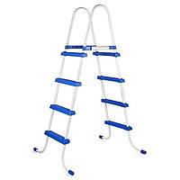 Лестница для бассейна Intex 28062 (56974,58974), синяя, двусторонняя, для бассейнов высотой до 122 см , фото 1