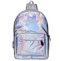 Голографический рюкзак  Cry Baby большой серебро.