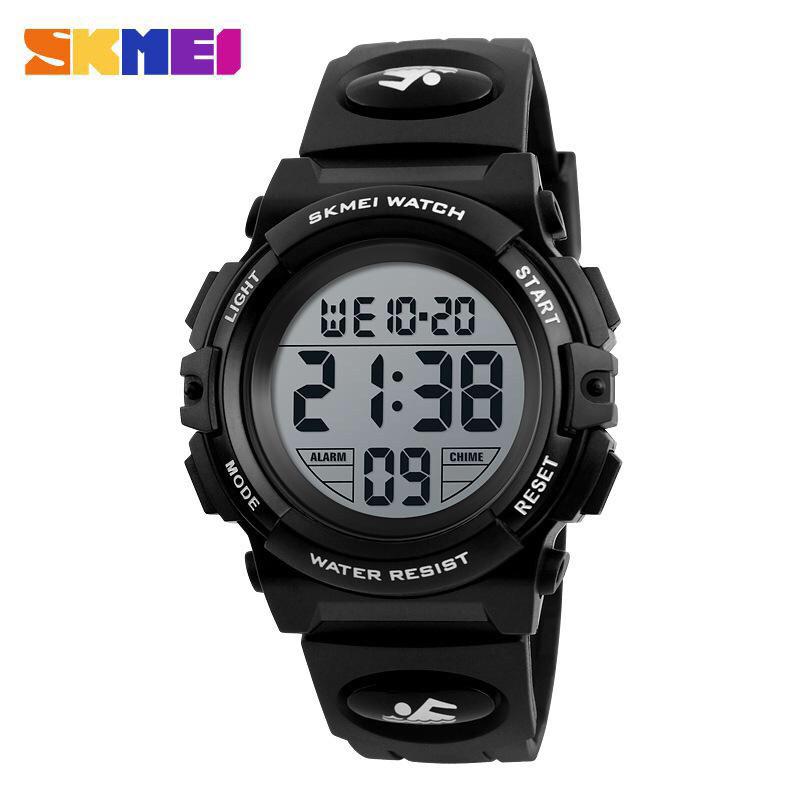 Спортивные водонепроницаемые часы Skmei (Скмеи), корпус черный с серебристым ( код: IBW130BS )