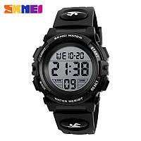 Спортивные водонепроницаемые часы Skmei (Скмеи), корпус черный с серебристым ( код: IBW130BS ), фото 1