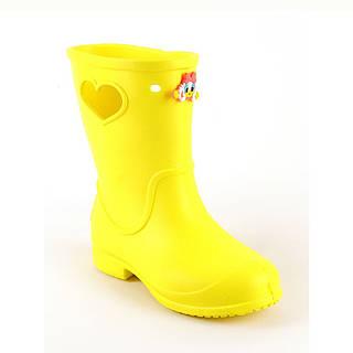 Резиновые сапоги для мальчиков и девочек желтые