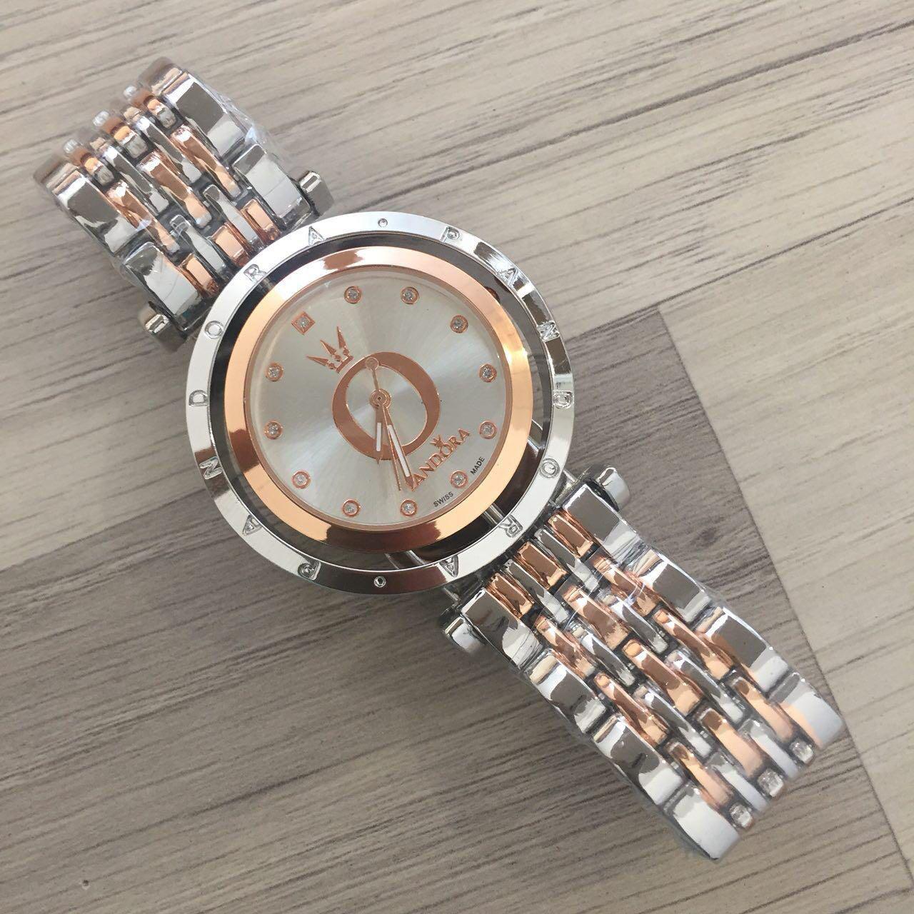 8fe3ab4d959d Женские наручные часы Pandora (Пандора), серебристо - золотой корпус и  белый циферблат