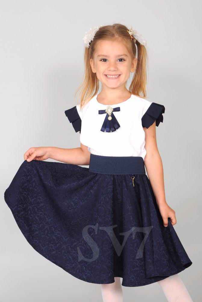 """Школьная юбка для девочки """"жаккард"""" синяя"""
