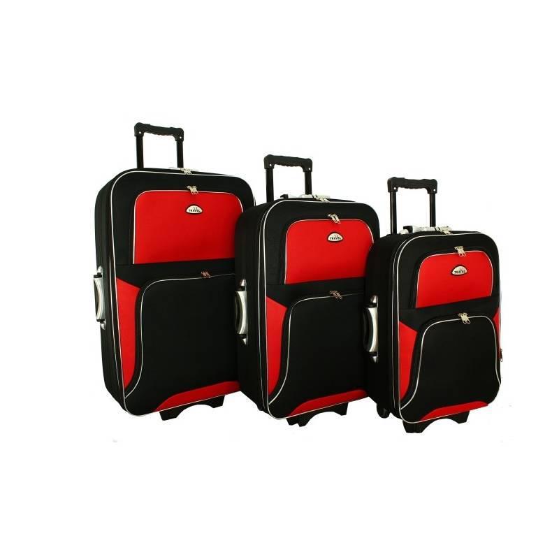 Чемодан сумка RGL Travel 310 набор 3 штуки черно-красный