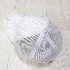 Кепка белая белые цветы сетка 501-04, фото 2