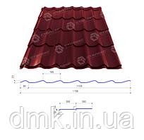 Сталекс Металлочерепица GRAND 0,40*1195 PE (в плівці) RAL 3005 Сировина Optima Steel