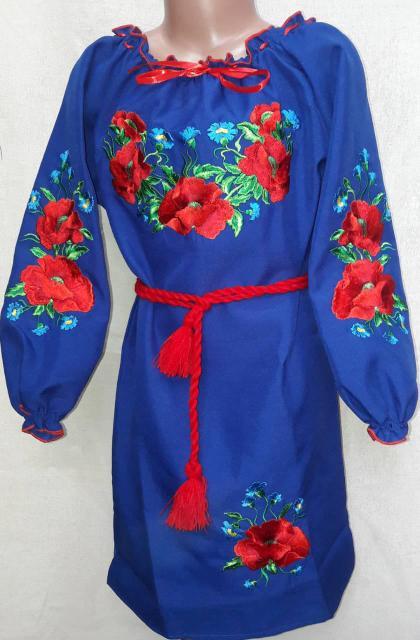 Вышитое  платье для девочки  122-152
