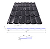 Сталекс Металлочерепица GRAND 0,45*1195 PEMA RAL 8019 Сировина Optima Steel
