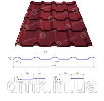 Сталекс Металлочерепица AFINA 350/15 0,45*1185 PE RAL 3005 Сировина Optima Steel