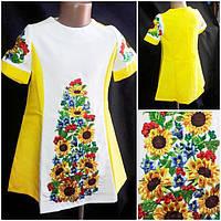 Вышитое  платье для девочки 146-152