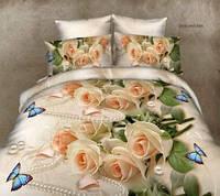 """Двуспальный комплект постельного белья """"Розы в жемчуге"""""""