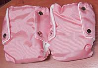 Муфта раздельная для рук на флисе (перчатки) на коляску и санки. Розовый цвет.