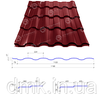 Сталекс Металлочерепица VALENCIA 400/20 0,45*1195 PEMA RAL 8019 Сировина Optima Steel
