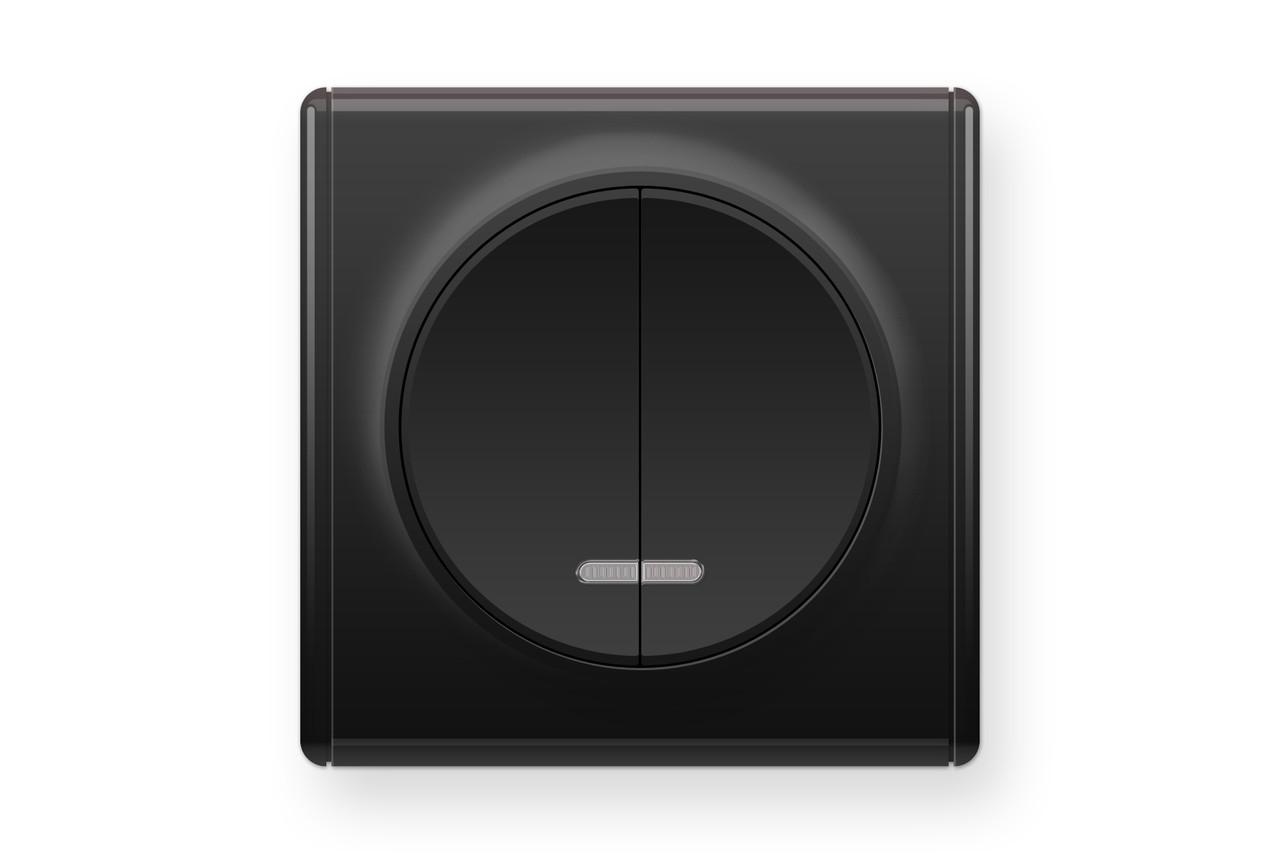 Вимикач подвійний з підсвіткою, колір черный (серія Florence), фото 1