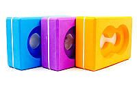 Блок для йоги (кирпич для йоги) с отверстием FI-5163 (цвета: синий, розовый, оранжевый)