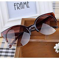 Dior Солнцезащитные очки женские кошка круглые Cat eyes коричневые